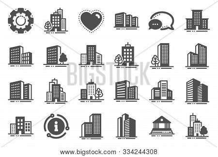 Buildings Icons. Bank, Hotel, Courthouse. City, Real Estate, Architecture Buildings Icons. Hospital,