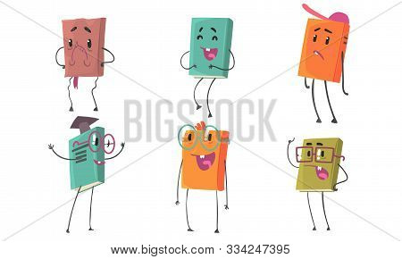 Animated Books In Colorful Covers With Different Emotions Vector Illustration Set Cartoon Character