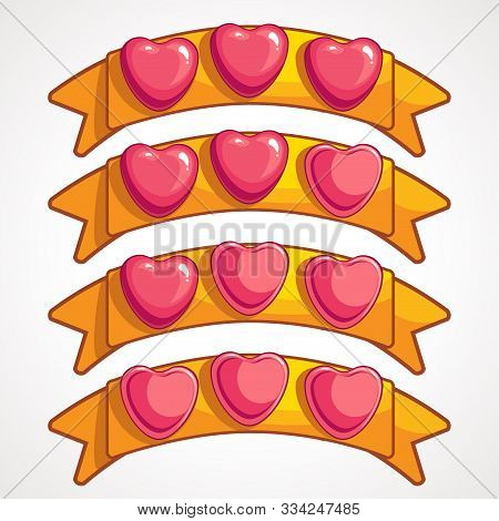 Cool Cartoon Glassy Pink Hearts On Gold Ribbon Game Elements