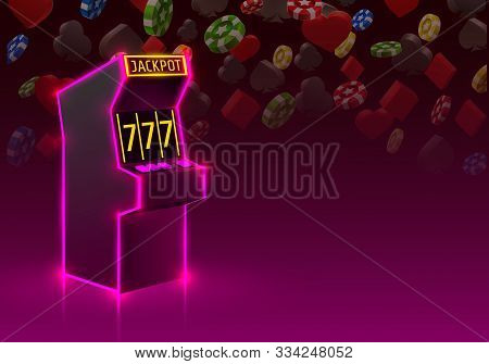3d Slots Machine Wins The Jackpot, Neon Slot Machine, Playing Cards Wins The Jackpot.