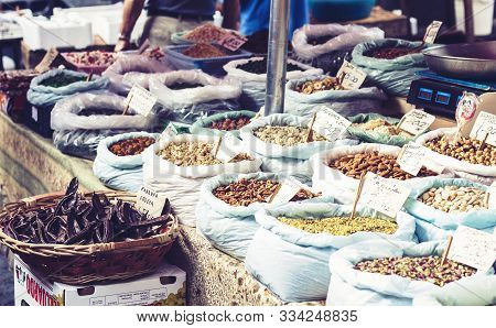 Catania, Sicily - August 16, 2018: Dried Fruits, Spices And Nuts In The Fruit Market, Catania, Sicil