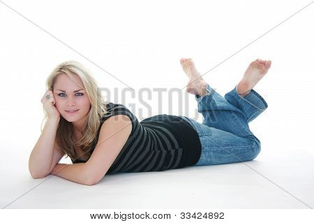 Woman Laying On Floor