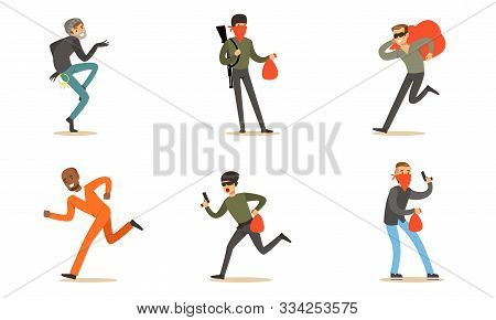Masked Criminal Characters, Prisoner, Burglar And Terrorist With Booty And Guns Vector Illustration