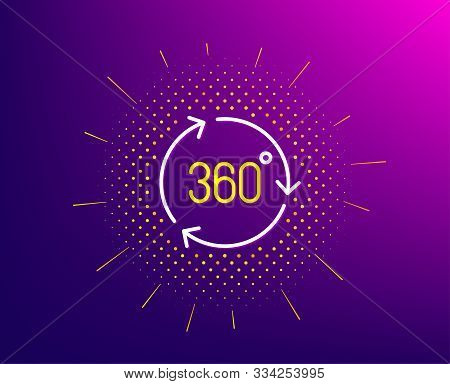 360 Degree Line Icon. Halftone Pattern. Vr Technology Simulation Sign. Panoramic View Symbol. Gradie