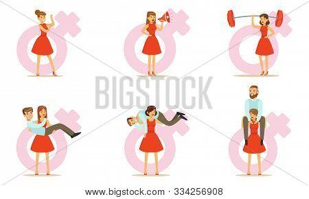 Modern Women Problem Due To Oppression By Men, Girl Power Vector Illustration Set Isolated On White