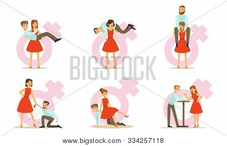 Females In Modern Society, Woman Exchanging Places With Man And Dominating Him Vector Illustration S