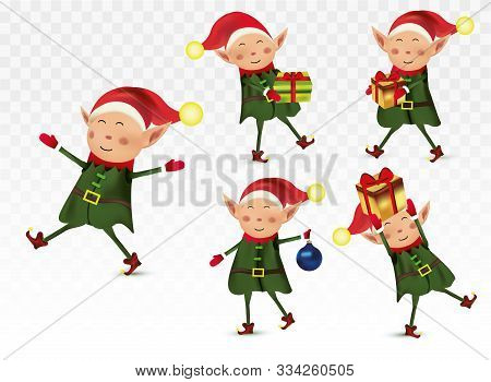 Set Of Cute Christmas Elves. Santa Claus Helpers. Little Beautiful Elves. Happy New Year.elves With