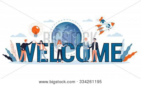 Vector Illustration Of Welcoming Concept. Greeting For New Business Team