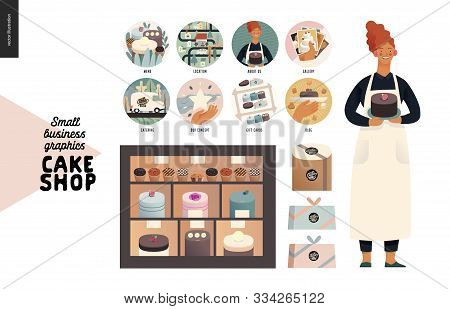 Cake Shop, Cakes On Demand - Small Business Graphics - Owner At The Display -modern Flat Vector Conc
