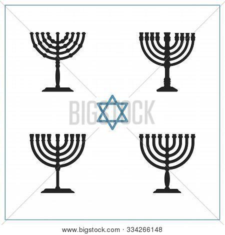 Set Of Various Vector Menorah For Happy Hanukkah Holiday