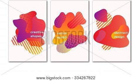 Bubble Badges Set. Trendy Minimal Design. Set Of Poster With Colorful Background. Abstract Gradient