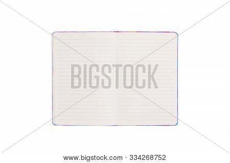 Blank Open Notebook On White Background With Clipping Path .top View Of An Open Empty Notebook.