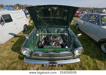 Rushmoor, Uk - April 19: Engine Bay Of A Classic British Ford Cortina Mk1 At A Meeting Of Vintage Ve