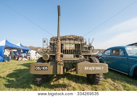 Rushmoor, Uk - April 19: Vintage Ww2 D-day Military Truck At A Meeting Of Classic Vehicle In Rushmoo