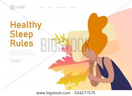 Sleeping Character Girl Landing Page Template. The Woman Sleeps In Bed Alone In Different Poses, Dif