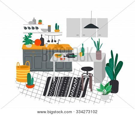 Scandinavian Or Nordic Style Kitchen Interior. Hand Drawing Scandinavian, Style Cozy Interior With H