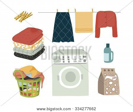 Laundry Set Isolated Elements Powder, Washing Machine, Wet Clothes With Clothespins, Folded Clothes