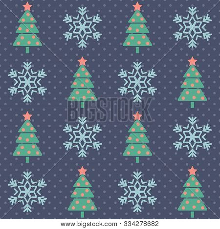 Christmas Pattern. Seamless Vector Illustration With Stylized Christmas Trees And Snowflakes