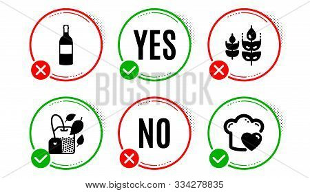 Gluten Free, Mint Bag And Wine Bottle Icons Simple Set. Yes No Check Box. Love Cooking Sign. Bio Ing