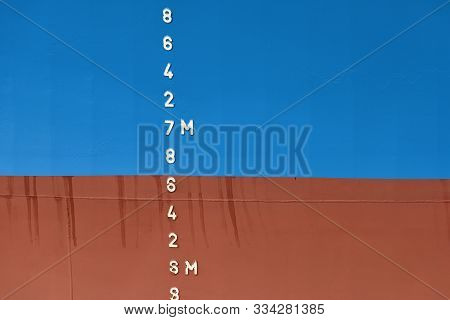 Old Ship Draft On Hull, Scale Numbering. Distance Between Waterline And Bottom Keel