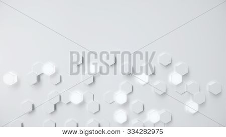 White Geometric Hexagonal Abstract Background. Surface Polygon Pattern With Glowing Hexagons, Hexago