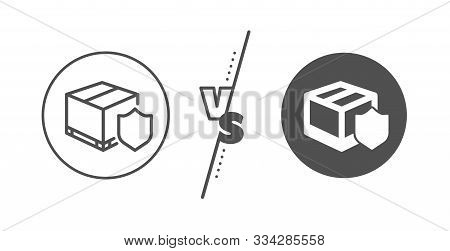 Parcels Tracking Sign. Versus Concept. Delivery Insurance Line Icon. Shipping Box Symbol. Line Vs Cl