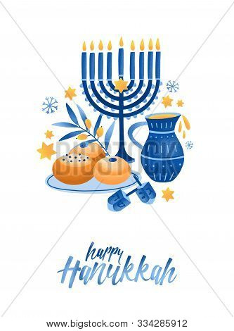 Hanukkah Symbols Flat Vector Illustration. Traditional Jewish Holiday Greeting Card Design With Happ