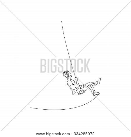 Continuous One Line Man Swinging Hard On A Swing. Adults Are Still Children. Vector Stock Illustrati