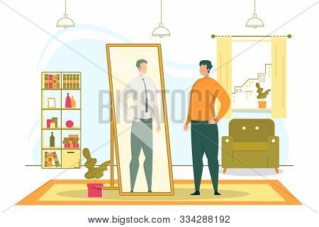 Weight Loss And Successful Business Career Dreams Flat Vector Concept With Fatty Man Looking In Big