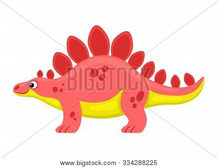 Cute Pink Stegosaurus Dinosaur On A White Background.