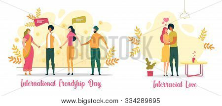 International Friendship Day, Interracial Love Flat Vector Concept. Multinational People Characters