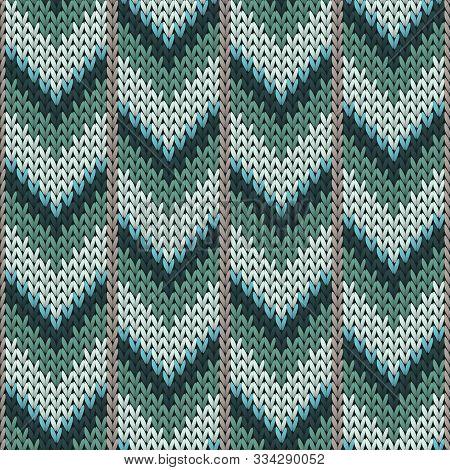 Stylish Downward Arrow Lines Christmas Knit Geometric Seamless Pattern. Plaid Knitwear Structure Imi