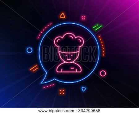 Cooking Chef Line Icon. Neon Laser Lights. Sous-chef Sign. Food Preparation Symbol. Glow Laser Speec