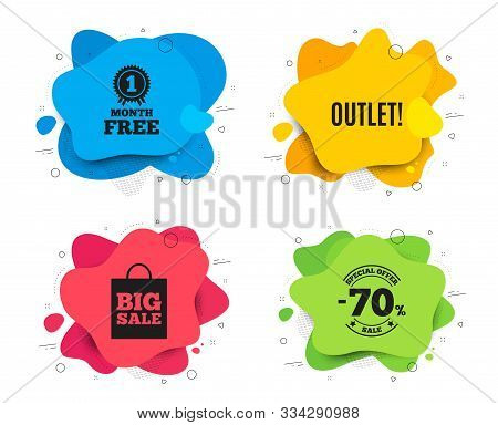 Outlet Symbol. Liquid Shape, Various Colors. Special Offer Price Sign. Advertising Discounts. Geomet