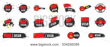 Vector Set Of Flags Of Ussr On A White Background