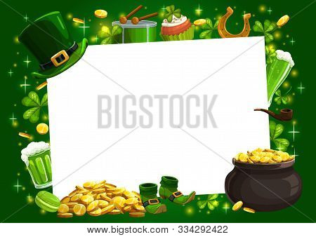 Patricks Day Irish Holiday Shamrock, Leprechaun Gold And Hat Vector Frame. Lucky Clover Leaves And H
