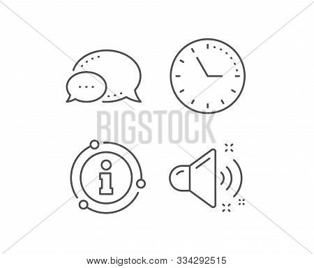 Loud Sound Line Icon. Chat Bubble, Info Sign Elements. Music Sound Sign. Musical Device Symbol. Line