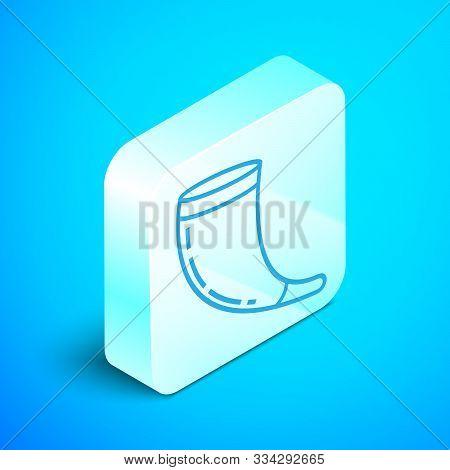Isometric Line Traditional Ram Horn, Shofar Icon Isolated On Blue Background. Rosh Hashanah, Jewish