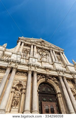 Venice, Facade Of The Church Of Santa Maria Di Nazareth Or Degli Scalzi In Baroque Style. Unesco Wor
