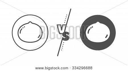 Tasty Nuts Sign. Versus Concept. Macadamia Nut Line Icon. Vegan Food Symbol. Line Vs Classic Macadam