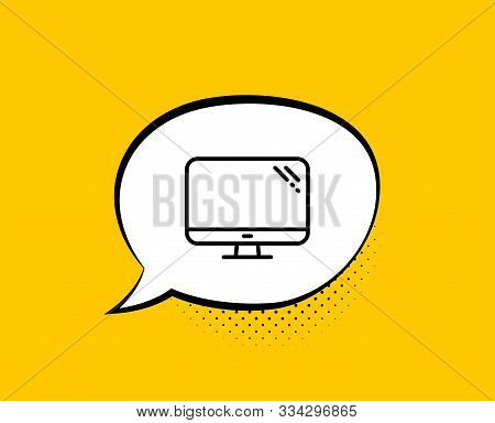 Computer Line Icon. Comic Speech Bubble. Pc Component Sign. Monitor Symbol. Yellow Background With C