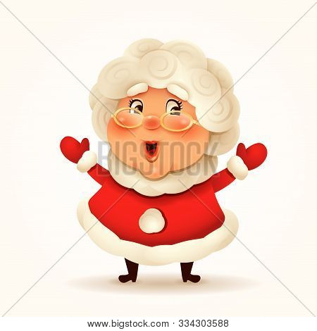 Mrs.claus. Vector Illustration Of Mrs.claus On Plain Background. Isolated.
