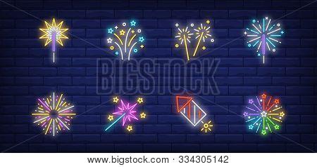 Firework Neon Sign Set. Cracker, Petard, Explosion, Sparkler. Vector Illustration In Neon Style, Bri