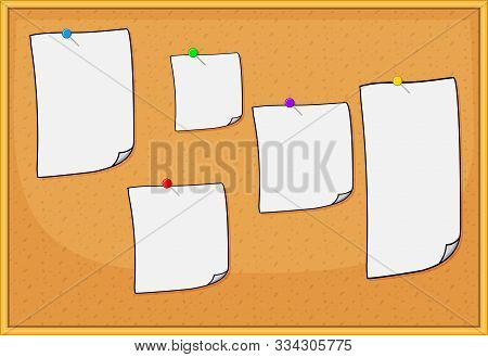 Cork Board With Sheets Of Paper For Notes. Hand Drawn Illustration Of Pin Board With Pins And Empty