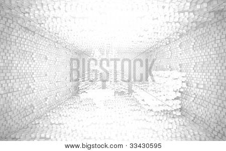 An abstract interior consisting of a small white cubes