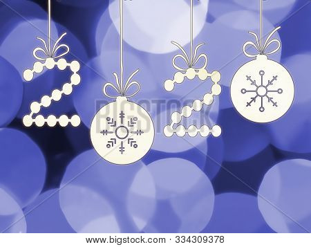 Illustration of 2020 New Year Date decal on bluish bokeh background