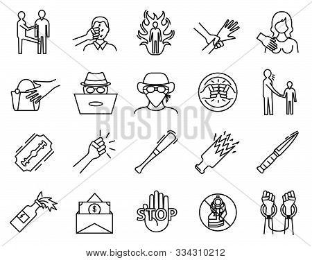 Violence Sign Black Thin Line Icon Set Include Of Conflict, Robbery, Harassment And Rape. Vector Ill