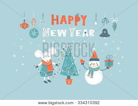 Happy New Year Vector Hand Drawn Greeting Card With Cute White Mouse Decorate Christmas Tree, Snowma
