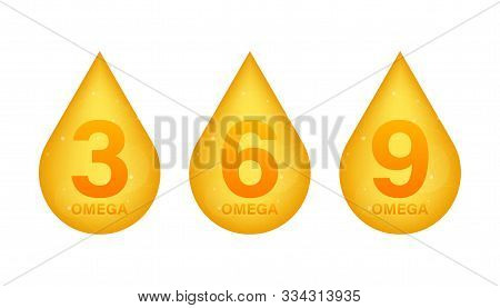 Omega 3, 6, 9, Gold Icon. Vitamin Drop Pill Capsule. Shining Golden Essence Droplet. Vector Illustra