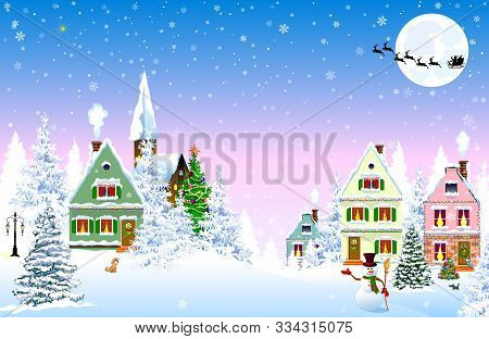 Houses, Village, Church, Forest, Trees. Winter Rural Landscape. Christmas Eve Night. Snowflakes In T